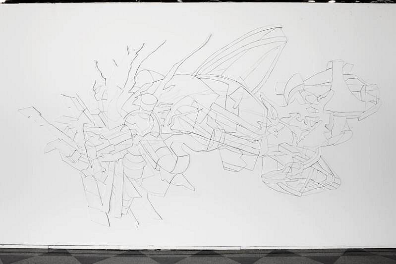 Chris Nau, Inhabit XX 2010, graphite and cuts on drywall