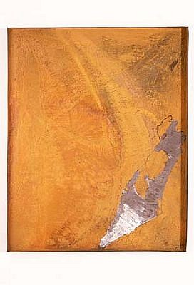 Joshua Neustein, Inverted Map of Israel 1993, etching, steel panel, rust