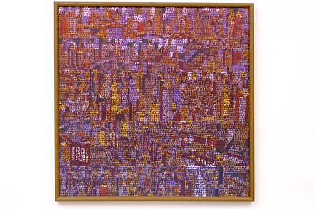 Nedra Newby, NYC in Purple 2003, acrylic on canvas