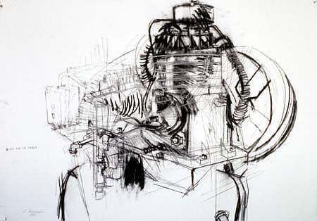 Lynn Newcomb, Compressor 1990, charcoal, graphite