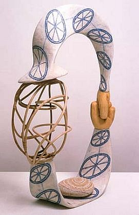 John Newman, Homespun (with a Patmian Stone) 2000, cane, sholepith, drawing on paper, papier mache, stone