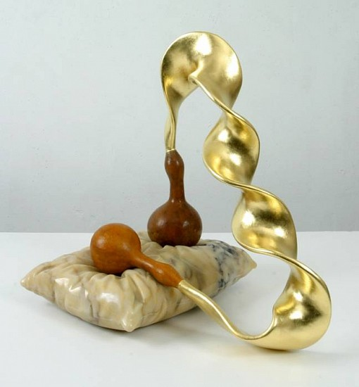 John Newman, Gold and Gourds on a Marble Pillow 2005, carved and polished Turkish afyon marble, gourds, gold leaf, papier mache, foamcore, Japanese paper, wood putty, acqua resin, armature wire