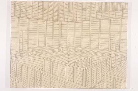 Christian Nguyen, Untitled (Labyrinth) 2003, charcoal and acrylic polymer on canvas