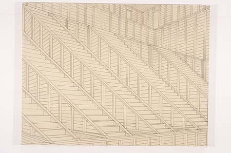 Christian Nguyen, Untitled (Staircase) 2003, charcoal and acrylic polymer on canvas