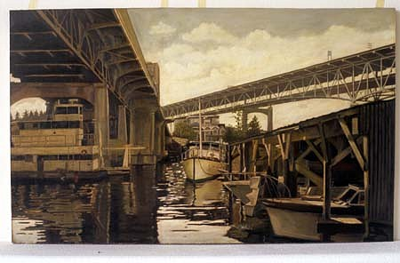 Thu Nguyen, Urban River 2004, oil on masonite