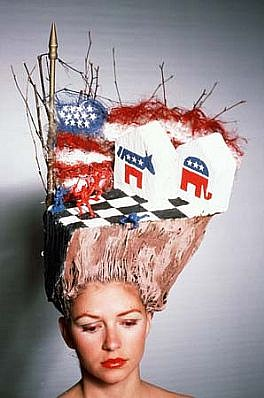 Terry Niedzialek, Political War Games 1988, hair, mixed media
