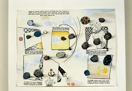Judith Nilson, Blueprint #1 2001, oil paint, oil pastel, colored pencil, black ink, black wire, gessoed paper