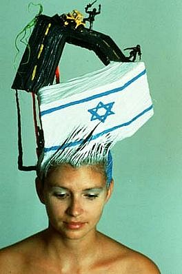 Terry Niedzialek, The Wailing Wall Hair Montage 1989, hair, mixed media