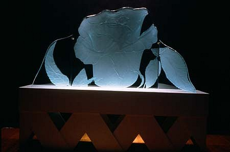 Patsy Norvell, Big Rose 1991 - 1992, sandblasted glass, painted wood, florescent light