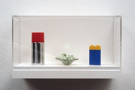 Steven Novick, Thermos, Bowl of Peanuts, Battery 2003, metal and plastic, styrofoam and glass, plastic