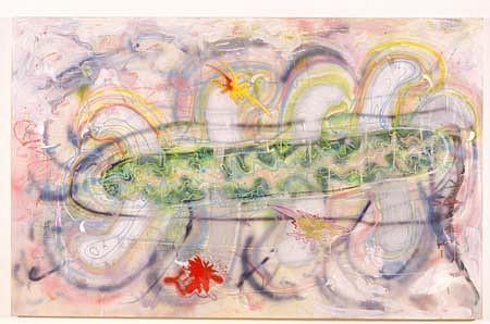 Nicholas Maffei, Untitled 1995 - 1996, oil, flourescent paint, silver paint, mica, acrylic on canvas