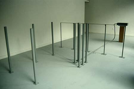 Roman Makse, Transition 1992, iron, wood, glass, rubber hose, aluminum
