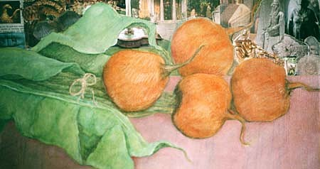Marcia Marcus, Golden Beets 1996, oil collage on canvas