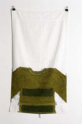 Milovan Markovic, Portrait of Felix Bresser 1999, fabric paint on white towel