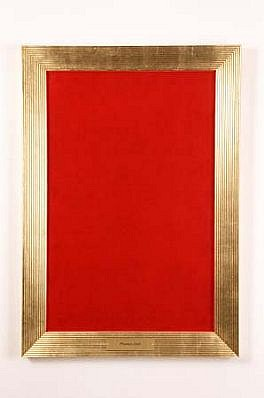 Milovan Markovic, Portrait of Phoolan Oevi 1996, lipstick on silk velvet with frame and brass plate