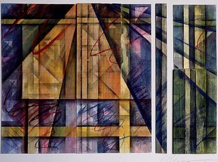 Loreen Matsushima, Fragmented Prisms 1991, mixed media on board