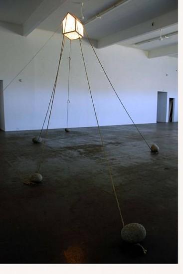 Donald Maynard, Maintaining Gravity 2008, wood, lace, steel rebar, 60 watt incandescent, rope, stone