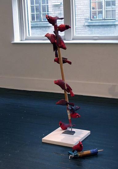 Brian McCutcheon, Playing Hands 2008, cast urethane, wood, auto paint, hoe, caulk gun