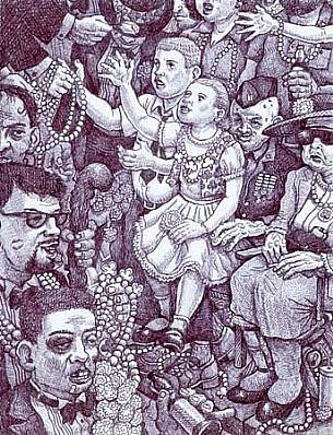 Michael Meads, St. Patrick's Day on St. Charles Avenue 2003, ink on paper