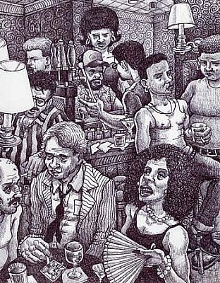Michael Meads, Happy Hour at Good Friend's 2003, ink on paper