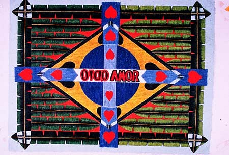 Odilla Mestriner, National Product, Amor Odio 2003, acrylic ink on banana fibre handmade paper