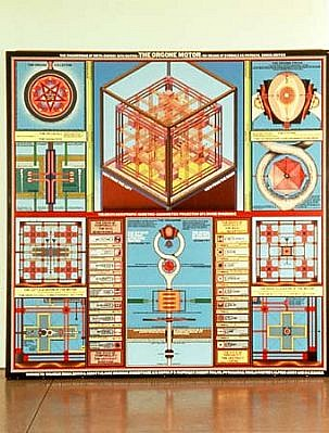 Paul Laffoley, The Orgone Motor 1972-75, oil, acrylic, and lettering on canvas