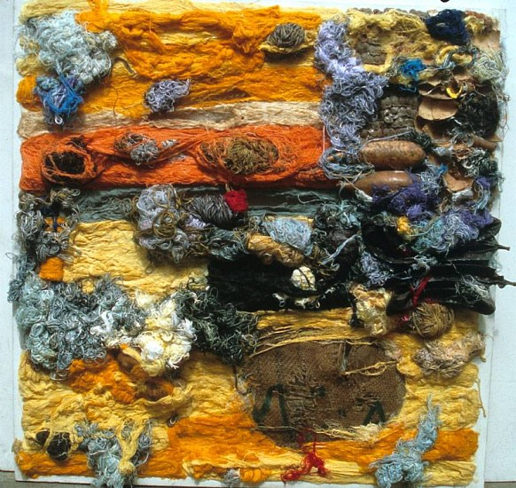 Wole Lagunju, Charms I 2006, acrylic paints, mixed media with cotton threads on canvas