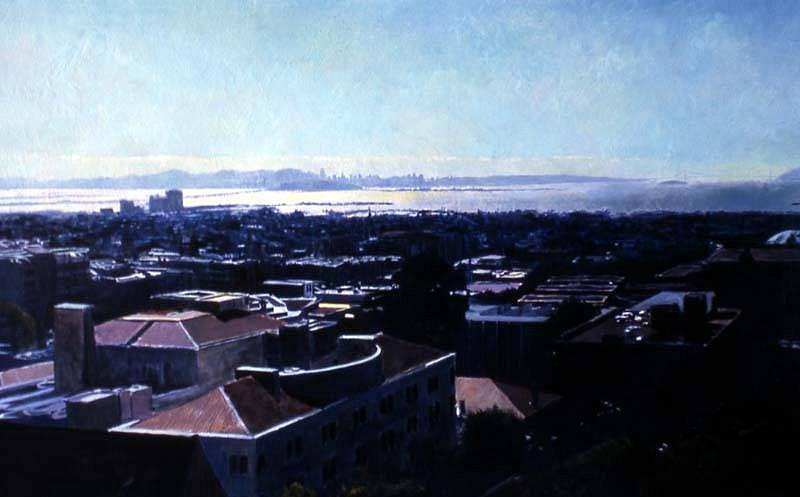 Dean Larson, Berkeley Rooftops and San Francisco Bay 2005, oil on canvas