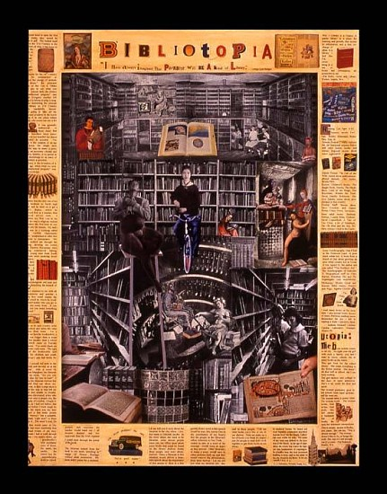 Deborah Lawrence, Bibliotopia 2006, acrylic, collage and varnish on rag paper, board and frame