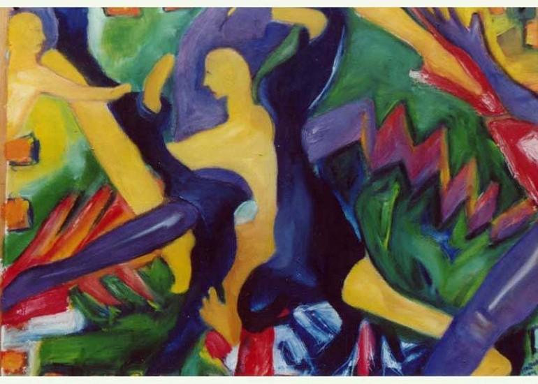 Kal Leavy, Banana Dance 2003, oil on en-tous-cas paper