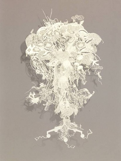 Bovey Lee, Atomic Jellyfish 2007, paper cutout on rice paper (hand cut)