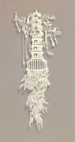 Bovey Lee, Tower 2008, paper cutout on rice paper (hand cut)