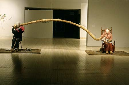 Stephen Lee, Bridge 1994, mixed media with straw