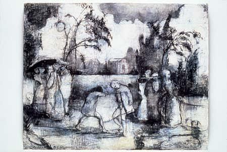 Leslie Lerner, My Life in France: Nov. 19, 1990 1990, charcoal, tempera on mounted paper
