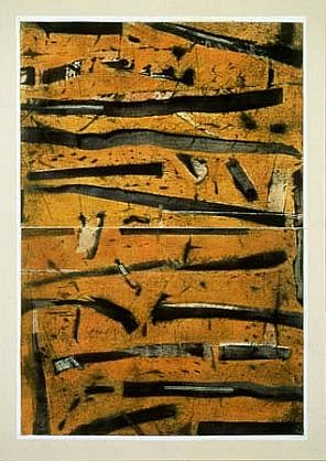 Bruno Leti, Kulwin II 1999, monotype on paper on canvas