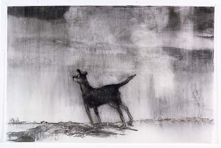 Leslie Lerner, My Life in America, Dog 2004, charcoal on vellum