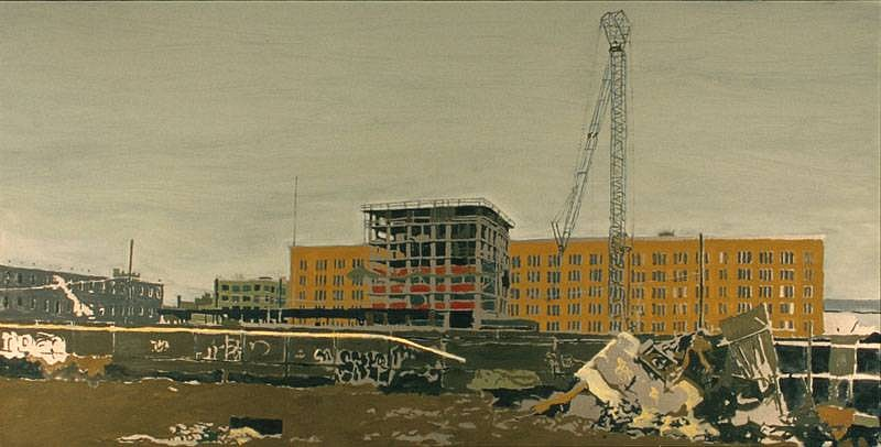 Greg Lindquist, Red Hook Revere Sugar Refinery (Flattening the Remains, The Age of Steam) 2007, oil, metallic and graphite on linen