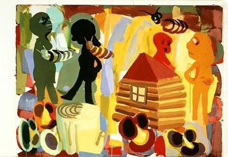Judith Linhares, Bad Neighbors 2000, gouache on paper
