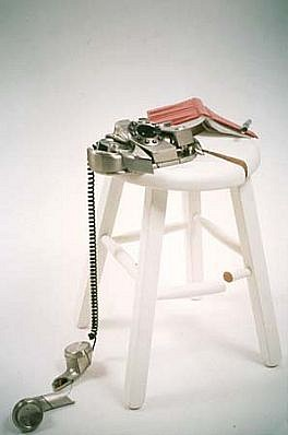 Ana Linneman, The World as an Orange 2003, kitchen stool, telephone, notebook, pen