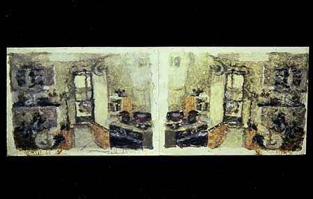 Allen Mitchell Long, Smashed Paiting (Interior Kitchen on Rendon St.) 2004, oil on paper