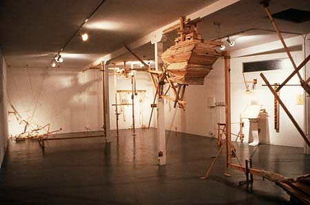 Bernie Lubell, The 2nd Story: A Twice Faled Tale 1989, pine, canvas, latex, music, wire, etc.