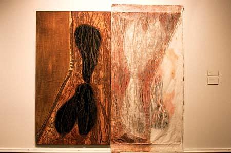 Kathryn Luchs, Block and Print: Feeder 1996, woodblock, woodcut hybrid
