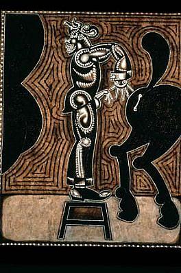 Carlos Luna, El Campo I 2000, charcoal, gouache on amate paper