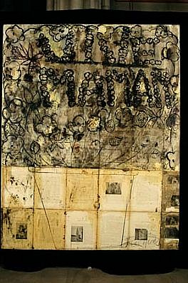 Vivienne Koorland, Vive Maman (Arrondissement de Caen. IV) 1987, oil, text, charcoal on linen