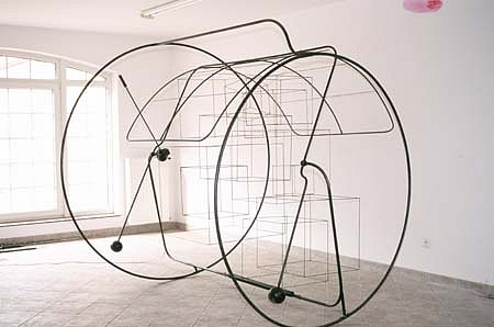 Adam Kalinowski, The Rolling Form 1998, kinetic object, steel, electric motor