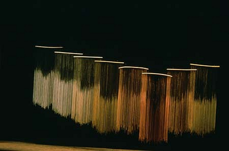 Margaret Kaminska Skiba, Octaves 1989, nickel, brass, copper wire, plastic tubes covered with wire