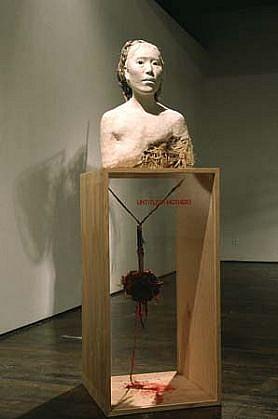 Yoshiko Kanai, Mother 1994, knife, cloth, clay, box, hair, etc.