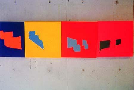 Suparirk Kanitwaranun, Four Sign (detail) 2004, offset color on wood