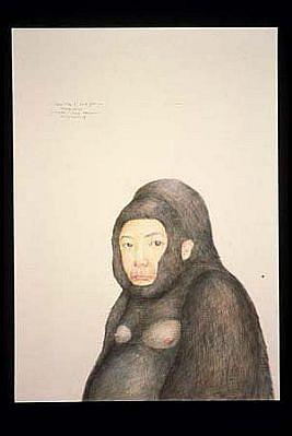 Haegeen Kim, Gorilla Woman - Self Portrait 2005, colored pencil on paper