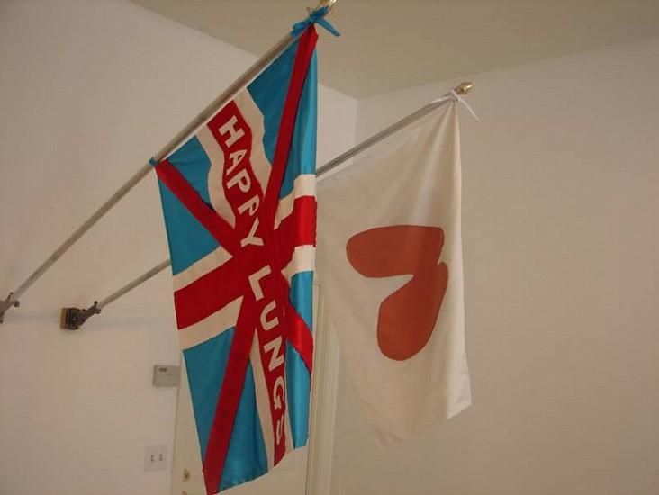 Eunah Kim, Happy Lung Flags 2008, sewn fabric on flag pole